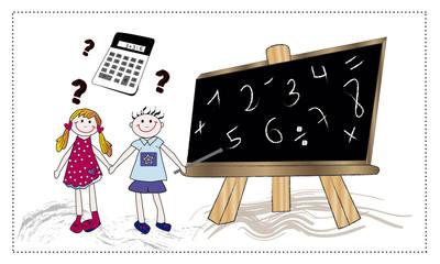 Pareja de niños con pizarra y calculadora