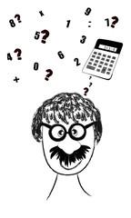 Hombre pensando en operaciones matemáticas