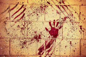 Bloodstain of suffering on wall