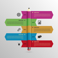 Business Infographic timeline Template with Pencil and icons