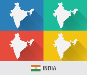 India world map in flat style with 4 colors.