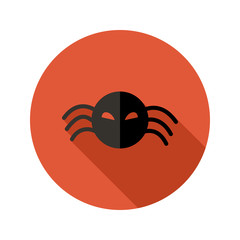 Halloween Scary Spider flat circle icon over red