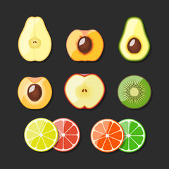 Fruit set icons. Vector illustration.