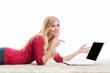 canvas print picture - Blonde Frau am Laptop
