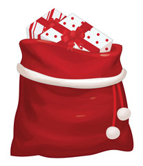 .Vector Santa Claus bag with gifts isolated.