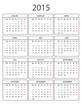 Kalender 2015 mit Rahmen ohne Feiertage