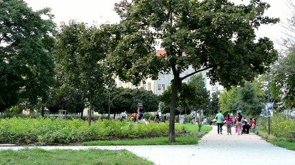 park in the city - people and children