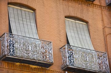 Persianas tradicionales en unos balcones de Jaén