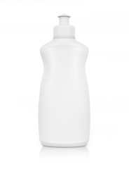 White plastic bottle for liquid laundry detergent or cleaning ag