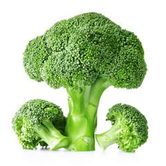 Fresh raw broccoli isolated on white background