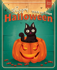 Vintage Halloween poster design with pumpkin & cat