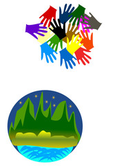 Hands together on the Earth .Concept abstract background.