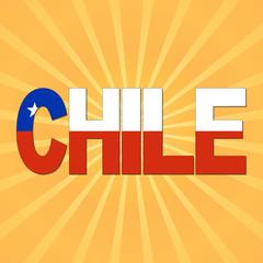 Chile flag text with sunburst illustration