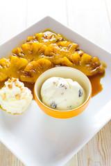 flambe pineapple with ice cream