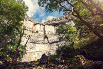 sunlit cliff face