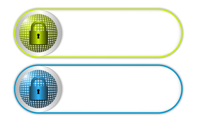two vector buttons with grid and padlock
