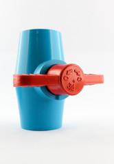 PVC ball valve on white background.