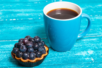 Coffee with blueberry cake