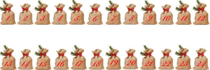foto adventskalender aus kleinen jutes ckchen. Black Bedroom Furniture Sets. Home Design Ideas