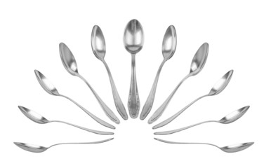 collection of teaspoons in different perspectives on an isolated