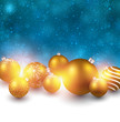 Winter background with golden christmas balls.