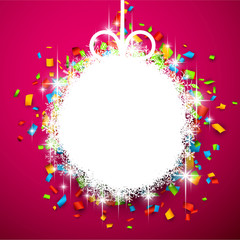 Christmas ball on confetti.