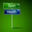 Sport health direction road sign.