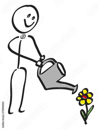 Gamesageddon Strichmannchen Beim Blumengiessen Lizenzfreie Fotos
