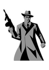 Icon illustration of a man holding a tom gun