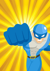 A superhero punching through with light burst as the background
