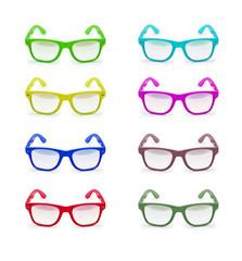 set of sunglasses isolated on white background