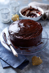 Dark Chocolate Cake with Chocolate Glaze for Christmas