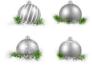 Set of realistic silver christmas balls.