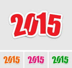 New year 2015 stickers