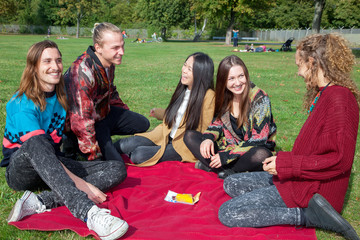 Group of young people in the park