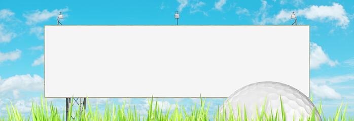 Blank billboard and golf ball