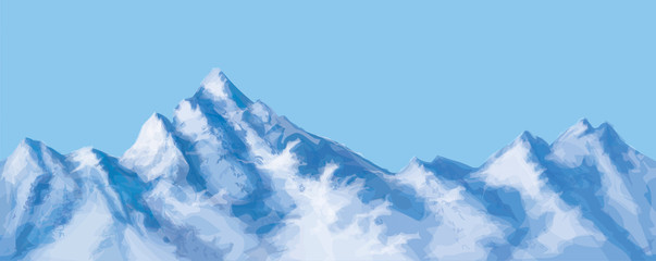 Vector seamless snowy mountains.