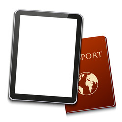 vector modern computer tablet with passport