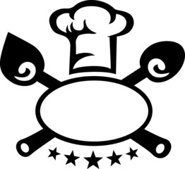 Label, Chef`s Hat, Cuisine, Cutlery, 5 Stars - 2c