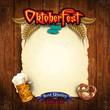 Parchment menu Oktoberfest with vintage wood
