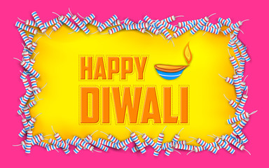 Happy Diwali background with diya and firecracke