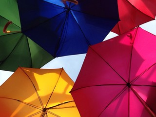 bright colourful rainbow umbrellas