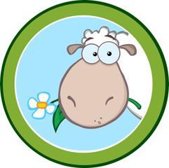 Cartoon Green Circle Label With Sheep