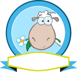 Cartoon Blue Circle Label With Sheep And Ribbon