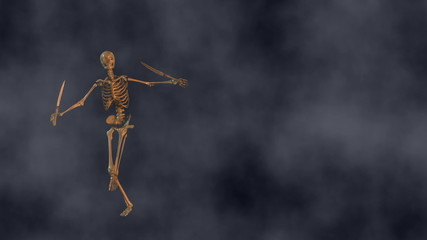 Skeleton Dances in Fog with Swords (Left Side)