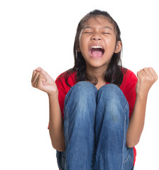 Stressed and screaming young Asian girl over white background