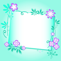 Turquoise background with floral ornament