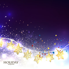 Christmas  background with luminous garland. Vector illustration