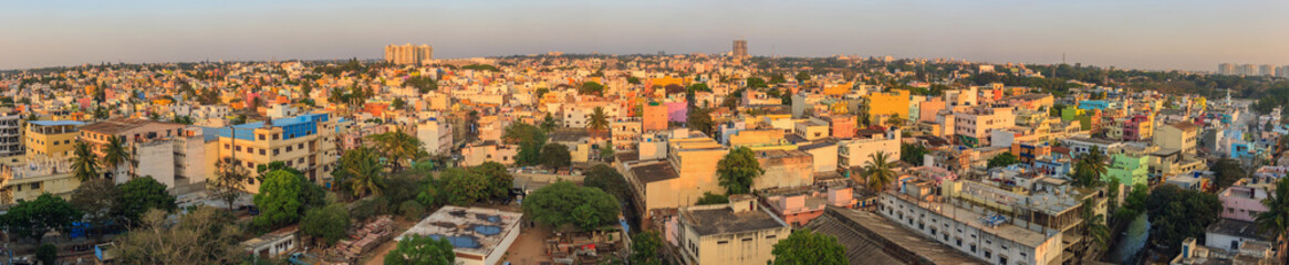 Panorama of Bangalore City skyline, India