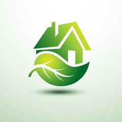 Eco green house concept signs and icons